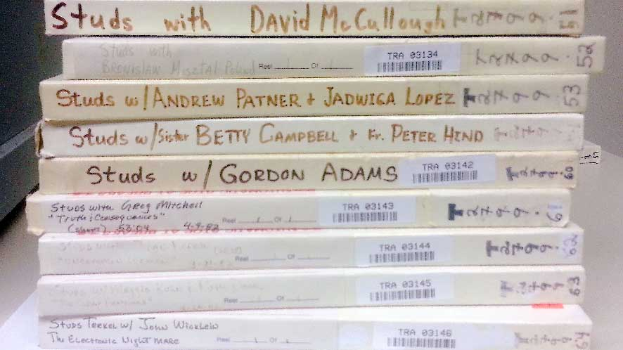 A stack of tapes from Studs Terkel's show at WFMT sit at the Library of Congress' Packard Campus of the National Audio-Visual Conservation Center in Culpeper, Va.  Photo by  Allison Schein Holmes
